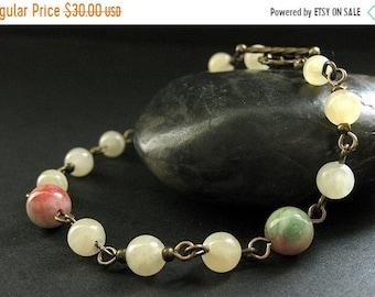 SUMMER SALE Gemstone Bracelet in Aragonite, Jade and Bronze. Seasons Change Meditation Beads. Handmade Bracelet.