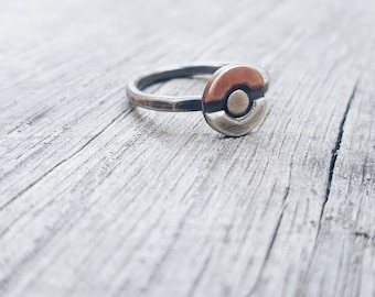 Pokeball Stacking Ring  // Sterling & Copper Pokemon Stacking Ring // Sterling silver pokemon ring.  Silver pokeball ring.  Pokemon jewelry.
