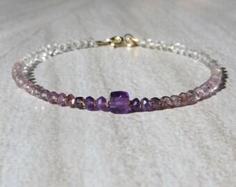 Amethyst Bracelet, Ombre Bracelet, Shaded Spinel Bracelet, Multi Spinel Bracelet, Gemstone Bracelet, Shaded Purple Bracelet