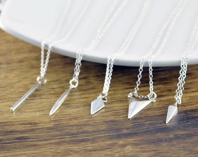 Chevron Necklace - Silver Vertical Bar Necklace - Geometric Necklace - Geometric Jewelry - Layered Necklace Set, Layered Necklace