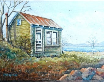 Abandoned Maine Cabin Original Watercolor