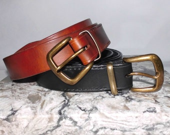 "Leather Belt Custom Handmade 22"" to extra long 66"" Gift"
