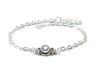 Sterling Silver Genuine  Aquamarine Bracelet  , Gift For Her
