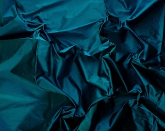 Fine Indian Silk Taffeta in  Unique Blue- Fat quarter -TF 36