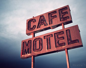 Cafe & Motel - Roadside Neon Sign Photograph