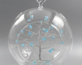 Christmas Ornament Aquamarine Blue Swarovski Crystal Elements and Silver March Crystal Christmas Ornament