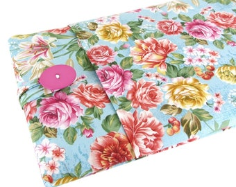 """Women's Laptop Sleeve 15.6"""" - Custom Sized To Your 15 Inch Laptop - Padded With Pocket, Floral Fabric"""