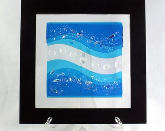 Fuse Glass Wall Art- Turquoise Blue Waves