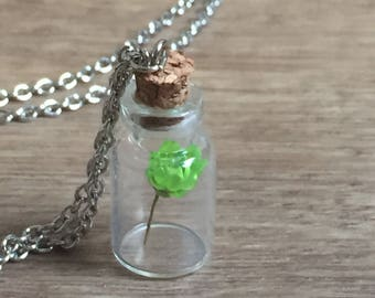 Glass bottle necklace, flower bottle necklace, floral bottle necklace, glass vial necklace, Renaissance necklace, renaissance jewelry