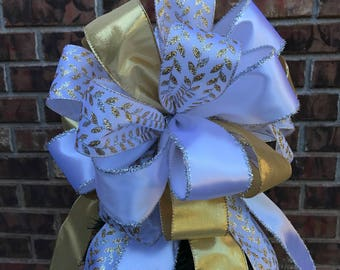 Christmas Tree Bow Topper - White, Silver, & Gold