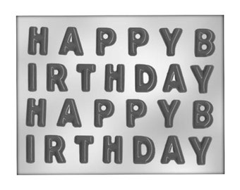 Happy Birthday Letters Chocolate Mold - Cake Decoration and Cupcake Topper - Baking Candy Making Food Craft Party Decor Supplies