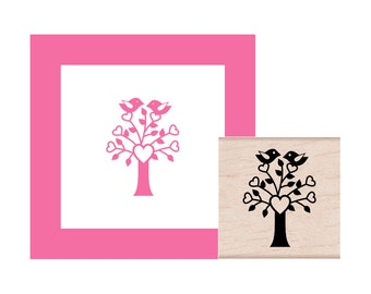 Love Tree with Birds Rubber Stamp