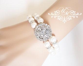 Wedding Jewelry Swarovski Pearl Bracelet Double strands Rhinestone circle Bracelet Bridal Bracelet Bridesmaids Bracelet  - OLIVE