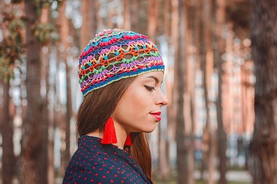 Hippie-gehäkelte Mütze Frauen bunte Beanie Mandala häkeln