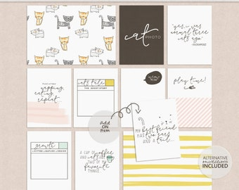 Cats - Digital Journal Cards - Printable - Hybrid