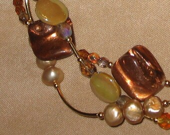 SALE!!!  Bronze Shell and Pearl Torsade Necklace