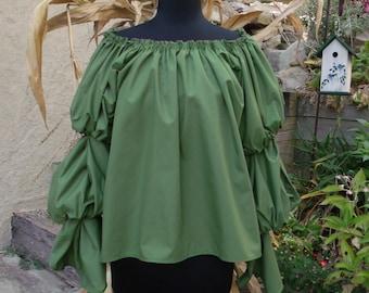 Pirate Wench Gypsy Renaissance Blouse Chemise Costume VINEYARD GREEN