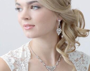 Rhinestone Bridal Jewelry Set, Bridesmaid Jewelry, Rhinestone Jewelry Set, Wedding Jewelry, Bridal Jewelry, Bridal Accessories ~JS-1662