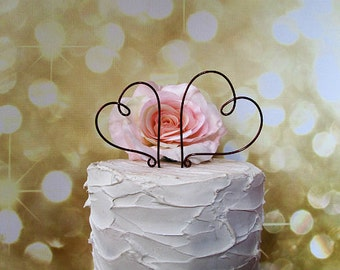 2 Hearts Wedding Cake Topper, Rustic Wedding Cake Decoration, Vintage Wedding Cake Decoration, Wine Wedding Cake Topper, Rustic Wedding