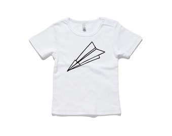 Paper Plane Baby T-Shirt by RockPaperHeart in black or white origami  geometric kids