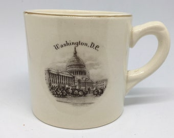 Vintage Gold Trimmed Souvenir Mug for Washington DC and the Capitol Building - Views of America Series by ENCO - 22K Gold trimmed Small Mug