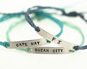 Town Bar Adjustable Friendship Bracelet, Sterling Silver, Brass, Locations Jewelry, Stackable Bracelets, Stacking Bracelets