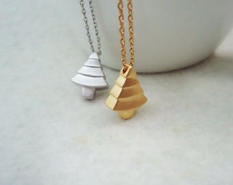 489. Pine Tree Pendant Necklace, Mini Tree Charm Necklace, Pyramid Shape Tree Necklace, Choose your Color