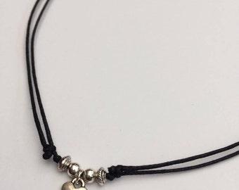 Heart Choker, Heart Necklace, Adjustable Heart Jewellery, Cord Choker, Dainty Heart Jewellery, Pretty Necklace, Girly Choker, Minimal Boho