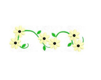 Vine Daisy Flower Embroidery Design, 4x4 Hoop MULTIPLE FORMATS Download