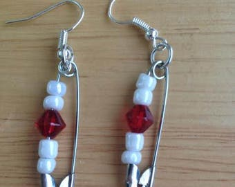 Cranberry Crystal Safety pin earrings
