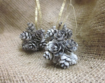 Frosted Mini Pine Cone Ball Ornament Set, Country Christmas Tree Decoration, Natural Gift Topper, Small White Pinecone Holiday Decor