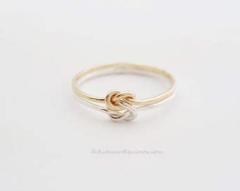Chunky Double Knot Ring Sterling Silver Gold Filled