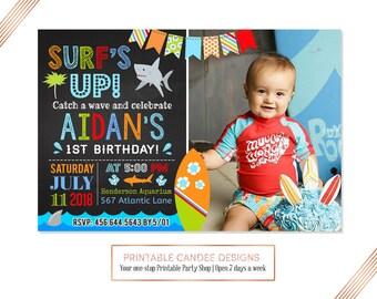 Surfing Birthday Invitation Shark Party Pool Beach Invite Surf 1st Birthday Printable File