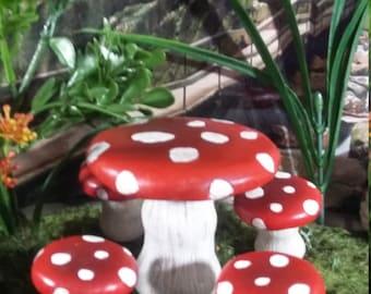 Fairy Garden Miniature Mushroom Table & Four Chair Set for your Fairy Garden, Fairy Furniture, Mini Chair, Patio Table n Chair Set, 5 pc Set