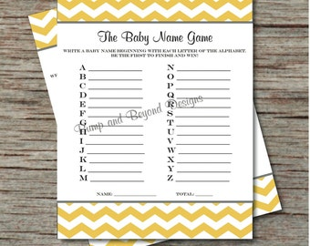 Instant Download - Baby Shower Game Baby Name Game Printable Name A - Z Game Yellow Grey Chevron Baby Shower Game PDF -001