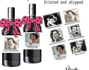 Funny mom wine labels. Set of 6 assorted hilarious mom designs on one sheet.  FM1