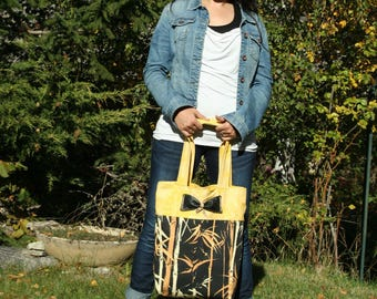 bag - canvas and yellow fabric.