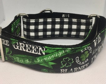 Dog Collar Lucky 4 leaf clover martingale or buckle