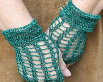 Crochet Lace Fingerless Gloves in Evergreen with Lampwork Glass Buttons Steampunk Victorian
