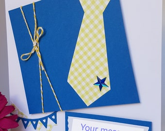 3D Tie & Star Birthday Card Dad Daddy Father Pop Grandad Uncle Brother Handmade FD04