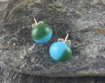 Fused Glass Stud Earrings in Forrest Green & Cyan Blue . Simple Earrings. Modern Fused Glass Jewelry. Tiny Studs. Trendy Jewelry. Handmade.