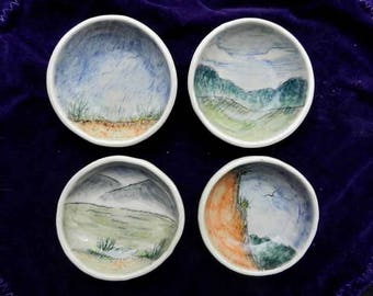 Tiny Landscape Dipping Bowls, Set of 4 Sushi Dishes, Soya Sauce Bowls, Olive Oil Dishes, Hand Made Ceramic Dipping Bowls, Sauce Dishes