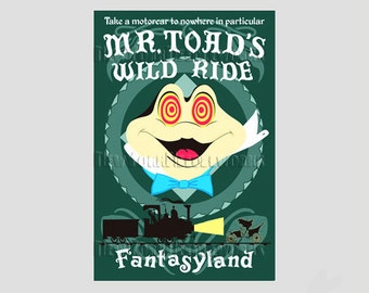 Disney Vintage Poster Pattern, Mr. Toad's Wild Ride Pattern, Disney Cross Stitch, Disney Needlepoint New York by NewYorkNeedleworks on Etsy