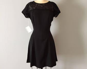 80s new old stock little black dress | velvet flowers mesh top l black floral lace mini dress