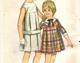 Butterick 3485 Girl's Size 12 1960s Dress Big Box Pleats