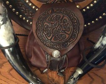 Scottish Sporran -  Leather Rob roy style