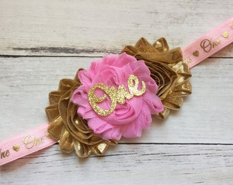 Pink and Gold 1st Birthday Headband, First Birthday, Girls 1st Birthday Outfit, 1st Birthday Headband, Smash cake Outfit