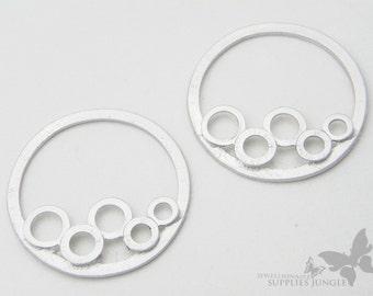 P285-MR// Matt Rhodium Plated Bubble Round Pendant, 4pcs