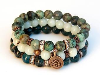 Stacking bracelets, boho bracelet set, apatite bracelet, turquoise bracelet, amazonite bracelet,gemstone bracelet set, charm bracelets
