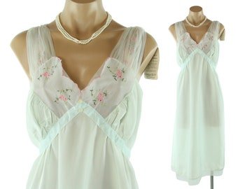 50s Nightgown Embroidered Lace Lingerie NOS Light Blue Pink Flowers Vintage 1950s Large L Pinup Rockabilly